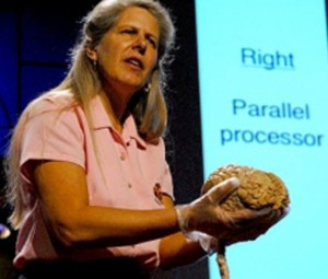 Jill Bolte Taylor holding a real brain